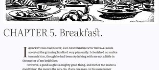 Chapter 5 showing the artwork, title with ligatures, and first paragraph styles