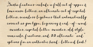 Example of handwriting font with ligatures