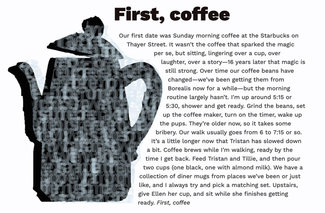 The full layout with text wrapping around the coffee pot, and another layer of text filling it