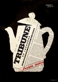 Herbert Leupin poster of a coffee pot and the Tribune