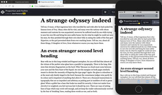 Here the main heading is two times the body copy on small screen, but 3 times the body copy on larger ones