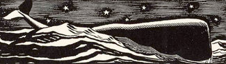 Rockwell Kent illustration of a whale breaking the surface of the waves