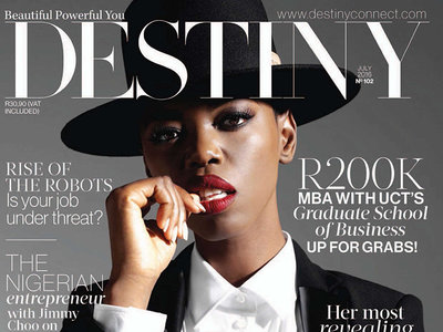Crop of Destiny Magazine cover showing different font weights and styles