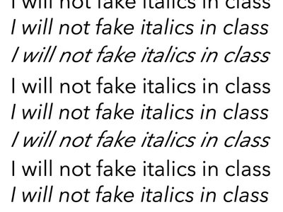 Italics set 3 ways, 2 of them displaying incorrectly